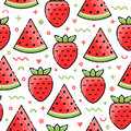 Watermelon, Strawberry Seamless Pattern Royalty Free Stock Photography - 95846577