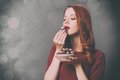 Woman With Plate Full Of Chocolate Candies Royalty Free Stock Image - 95848716