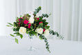Wedding Flower Composition On Table. Bouquet With Roses With Number Three Royalty Free Stock Photo - 95853025