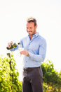 Man Pouring Wine From Bottle In Glass Stock Photo - 95859000