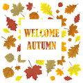 Welcome Autumn. Sales Banner With  Leaves. Leafs In Season Vector Sale Design Panel.  Illustration. White Background. Royalty Free Stock Photography - 95864587