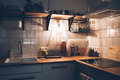 Vintage White Kitchen Interior, Cooking Objects With Warm Light Royalty Free Stock Photography - 95865067