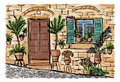 Mediterranean Town Painting Stock Images - 95890244