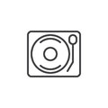 Vinyl Turntable Record Player Line Icon, Outline Vector Sign, Linear Style Pictogram Isolated On White. Royalty Free Stock Photo - 95892285