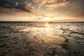 Sunset Over Wadden Sea Coast Stock Photo - 95892380