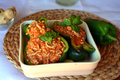 Stuffed Green Bell Peppers With Ground Beef On A Bowl. Healthy Summer Food. Stock Image - 95895191