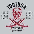 Tortuga Vintage Pirate Font Poster Royalty Free Stock Images - 95895339