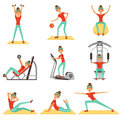 Fitness Woman Exercising In The Gym With Sports Equipment Set Of Colorful Vector Illustrations Stock Images - 95906664