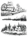 Trees And Water Reflection, Vector Illustration Set. Landscape With Forest, Hand Drawn Sketch. Royalty Free Stock Image - 95906976