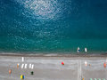 Aerial View Of A Beach With Canoes, Boats And Umbrellas. Praia A Mare, Province Of Cosenza, Calabria, Italy Stock Photography - 95908922
