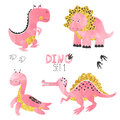 Cute Little Dinosaurs Set In Pink, Golden And Black Colors Royalty Free Stock Images - 95912509