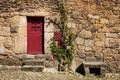 Detail Of A Stone House With A Red Door In The Historic Village Of Idanha A Velha In Portugal Stock Image - 95916661
