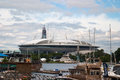 Saint Petersburg, Russia - July 08, 2017: The New Football Stadium On Krestovsky Island And The Construction Of A Skyscraper Lahta Stock Photo - 95923670