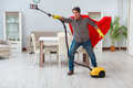 The Super Hero Cleaner Working At Home Royalty Free Stock Images - 95925469
