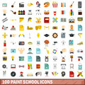 100 Paint School Icons Set, Flat Style Stock Image - 95928331