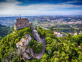 Sintra, Portugal: Aerial Top View Of The Castle Of The Moors, Castelo Dos Mouros, Located Next To Lisbon Royalty Free Stock Photos - 95931058