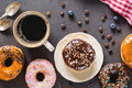 Glazed Donuts And Coffee Cup Royalty Free Stock Image - 95943606
