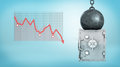 3d Rendering Of A Huge Wrecking Ball Sitting On A Deformed Silver Safe Box Beside A Negative Financial Chart. Royalty Free Stock Photography - 95944737