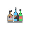 Alcohol Beverage Bottles Line Icon, Filled Outline Vector Sign, Linear Colorful Pictogram Isolated On White. Royalty Free Stock Images - 95945019
