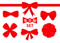 Red Ribbon Christmas Bow Big Icon Set. Decoration Element For Giftbox Present. White Background. Isolated. Flat Design. Stock Photography - 95947172