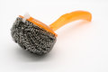 New Wire Steel Wool Scourer With Orange Plastic Handle Royalty Free Stock Images - 95947249