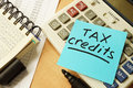 Stick With Words Tax Credits. Royalty Free Stock Images - 95971819