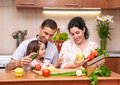 Happy Family With Child In Home Kitchen Interior With Fresh Fruits And Vegetables, Pregnant Woman, Healthy Food Concept Royalty Free Stock Photography - 95976267