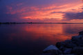 Amazing Sunset Over The Lake. Royalty Free Stock Photos - 95976668