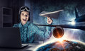 Dreaming To Become Pilot. Mixed Media Stock Images - 95981924