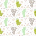 Cactus Desert Vector Seamless Pattern. Green And Grey Nature Fabric Print Texture. Royalty Free Stock Photo - 95988015