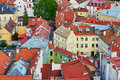 Beautiful Colorful Buildings With Red Tile Roofs In Vilnius Old Town Royalty Free Stock Image - 95989546