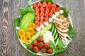 Warm Grilled Chicken Salad With Vegetables And Fruits Stock Images - 95989914