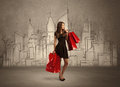 Shopping Girl With Bags In Drawn City Royalty Free Stock Photos - 95993068