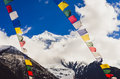 Himalayas Mountain Peak And Nepal Colorful Flags, Nepal Stock Images - 95994984