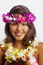 Portrait Of A Hawaiian Girl With Flower Lei Royalty Free Stock Image - 9600006