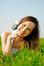 Happy Healthy Woman Lying In The Grass Stock Image - 9603801