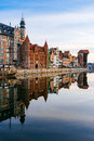 Embankment Of Motlawa River With Reflection On Water, Gdansk Stock Photography - 96006632
