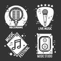 Music Festival Or Shop Labels Vector Headphones, Microphone For Recording Studio Stock Images - 96008184