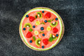 Whole Watermelon Pizza With Fruits, Dark Background, Top View Stock Image - 96010581