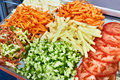 Sliced Vegetables For Salad In Kitchen Stock Photo - 96012370
