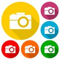 Simple Camera Icons Set With Long Shadow Royalty Free Stock Photo - 96016515