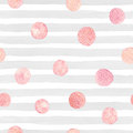 Watercolor Stroke Pattern With Pink Glittering Textured Circles. Royalty Free Stock Image - 96017086