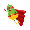 Cute Cartoon Smiling Pear Superhero In Mask And Red Cape, Colorful Humanized Fruit Character  Illustration Stock Photo - 96020120