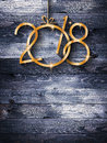 2018 Happy New Year Seasonal Background With Real Wood Green Pine Stock Photography - 96025792