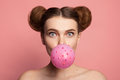 Girl Blowing Bubble Gum Royalty Free Stock Image - 96031466
