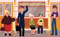 People In Subway Train Car, Sitting, Standing And Holding Handrails Royalty Free Stock Image - 96032536