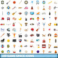 100 Game Space Icons Set, Cartoon Style Stock Photos - 96056033