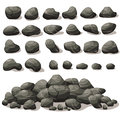 Rock Stone Cartoon In Isometric Flat Style. Set Of Different Stock Photos - 96057503