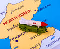 Map Of North Korea With A Military Machine Stock Image - 96057661