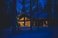 A Cozy Cottage Chalet House Near Ski Resort In Winter Royalty Free Stock Image - 96058846